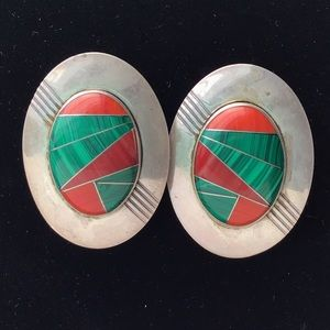 Navajo Malachite & Spiny Oyster Disc Earrings